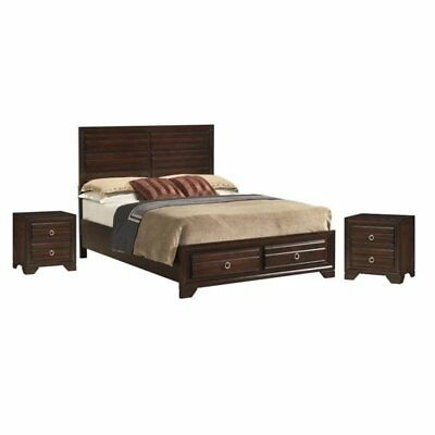 3 Piece Bedroom Set With Panel King Bed And (Set Of 2) Night Stands