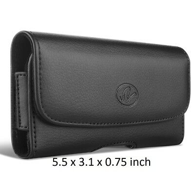 Leather Belt Clip Case Horizontal Holster for Cell Phones fits w/ OTTERBOX ON IT