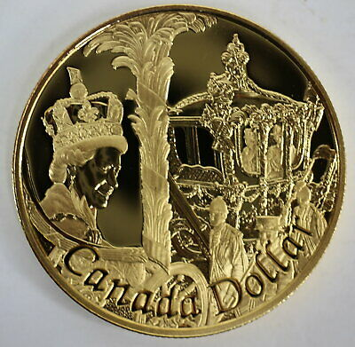2002 Canada Golden Jubilee Proof Gold Plated Silver Dollar Heavy Cameo Coin