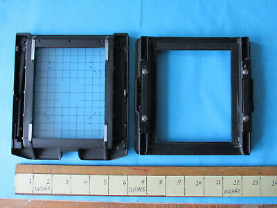 "Toyo View back assembly 4 x 5 (3 3/4"" x 4 3/4"") & grid glass focusing screen."