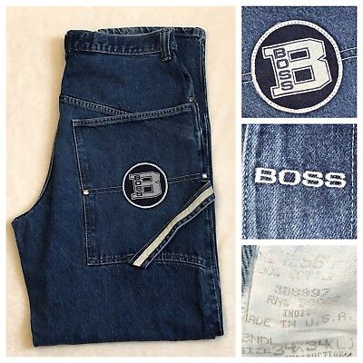 cf83424442a VINTAGE BOSS LOOSE Fit Baggy Blue Denim Jeans Made In USA Men s 34 X ...