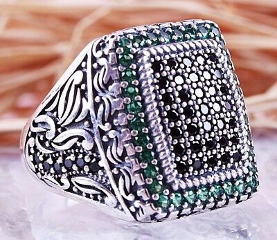 925 Sterling Silver Turkish Handmade Emerald Faceted Ottoman Mens Luxury Ring