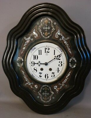 LG Antique FRENCH VICTORIAN Style ABALONE SHELL INLAID Old PARIS BAKERS CLOCK