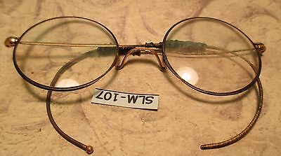 Round Wire Eye Glasses BOOK WORM Antique Pair  Marked SHUR-OK with Repairs