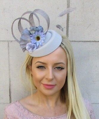 Grey Lilac Blue Flower Feather Pillbox Hat Hair Fascinator Clip Wedding 5910