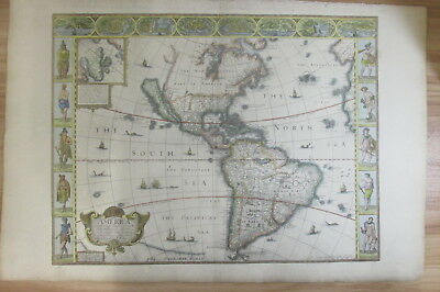 John Speed Map of the Americas (1626) - hand coloured on hand made paper