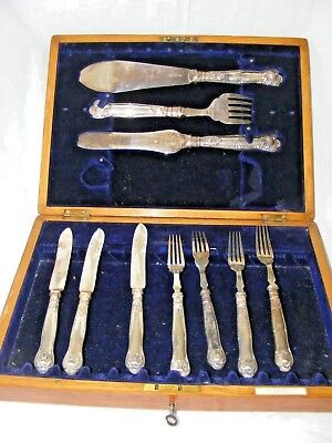 Antique Silver Plate Cutlery Set J A & S Ramsay, Dundee Gorgeous Box With Key