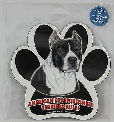 """American Staffordshire Terriers Rule! 5""""5"""" Dog Paw Print Magnet"""