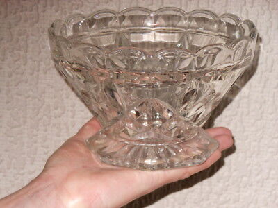 VINTAGE RETRO HEAVY Pressed Glass Fruit/Salad/Trifle Bowl Approx ...