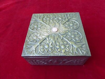 Arts And Crafts Style Pewter Clad Wooden Box With Stone / Jewel