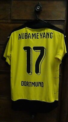 Borussia Dortmund Home Football Shirt Jersey 2015-2016 AUBAMEYANG 17 Large Boys