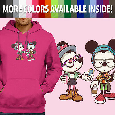 Disney Hipster Mickey & Minnie Mouse Couple Love Pullover Hoodie Hooded Sweater