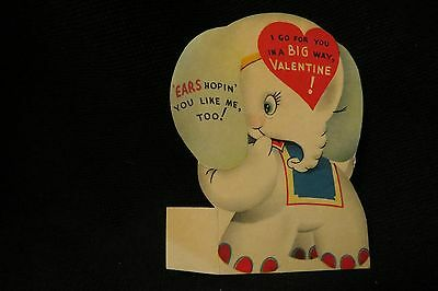 Vintage ELEPHANT Valentine Card c. 1940s by; american greetings