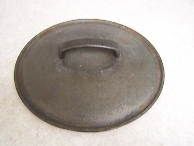 """Vintage Heavy Cast Iron Lid For Skillet Dutch Oven 9 1/2""""  Unmarked"""