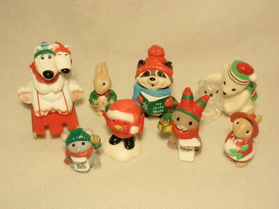 Vtg 1980s Hallmark Merry Miniatures Christmas Figurines Lot of 8
