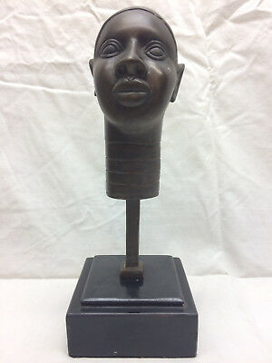 African American Woman Head Bust Sculpture Table Art Bronze