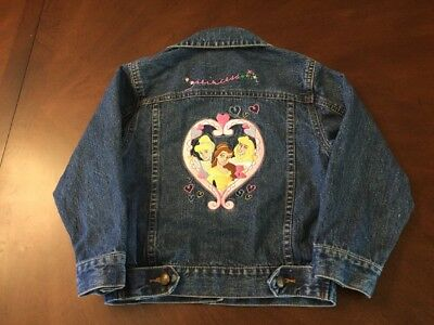 214641f0a DISNEY STORE GIRLS Denim Jean Jacket 10/12 Embroidered Princess ...