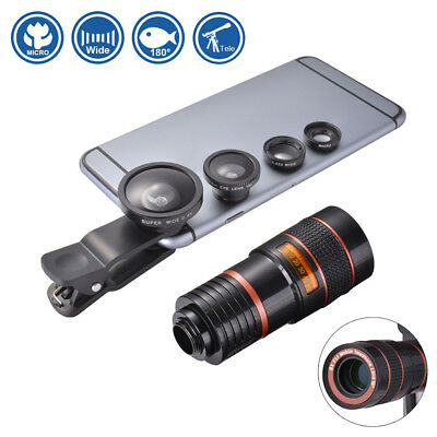 5in1 Clip On Camera Telephoto+Fisheye+Wide Angle+Macro Lens for Cell Phone DC777