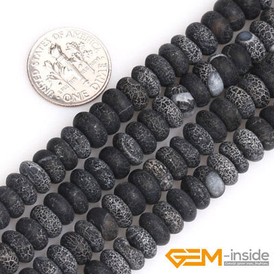 "Natural Black Agate Gemstone Frosted Matte Rondelle Spacer Loose Beads 15"" YB"