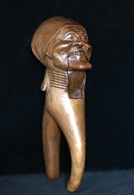 Rare BLACK FOREST SMILING LADY WOODEN NUTCRACKER Hand Carved Antique 19thC