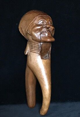 Rare BLACK FOREST SNAGGLE TOOTH LADY WOODEN NUTCRACKER Hand Carved Antique 19thC