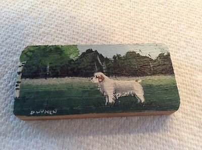 Miniature Diane Wynen Beautifully Painted Signed Wood Block Clumber Spaniel
