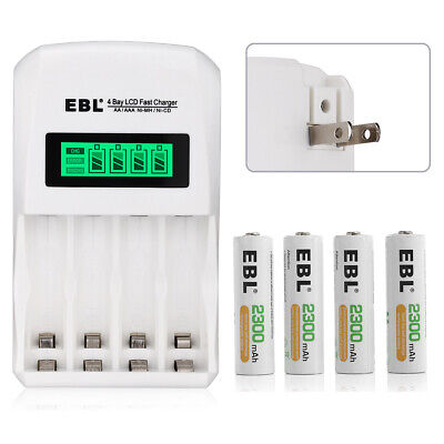EBL 4x 2300mAh Ni-Mh AA Rechargeable Battery + 4-Slots LCD Charger for AAA NiMH