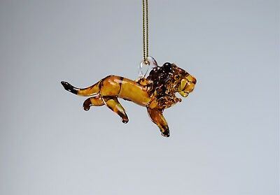 Hanging Lion Figurine of Blown Glass Crystal