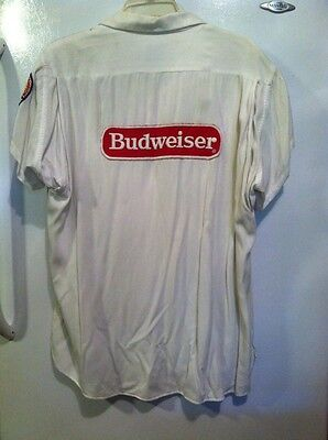 VINTAGE 50s BUDWIESER BEER BOWLING LEAGUE SHIRT MARK TWAIN MEN Med.