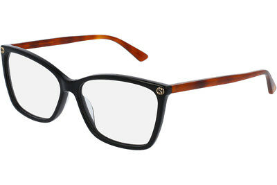 NEW Authentic GUCCI Womens Black Havana Square Eye Glasses Frame GG0025O 003 25O