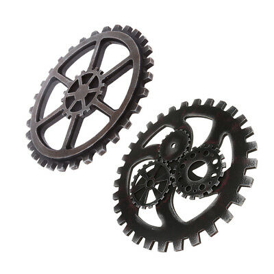 Pack 2 Retro Industrial Style Wooden Gear Club Wall Hanging Decorative Black
