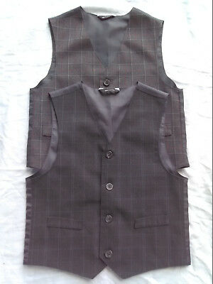 Boys Special Occasion Vests Lot Of 2 Charcoal Gray Red Blue Plaid Sz 6 Free Ship