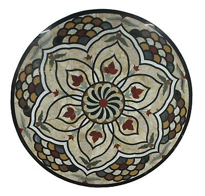 """48"""" Indian Multi Stone Black Base Unique Inlay Floral Marble Table Top US6MTT"""