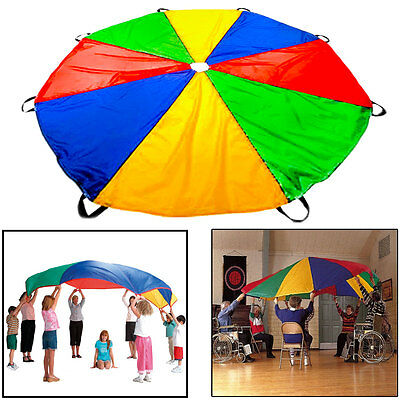 US 2M Outdoor Game Exercise Sport Toys 8 Handles Kids Play Rainbow Parachute SF