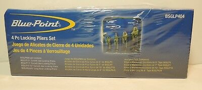 Blue Point BSGLP404 4 PC Locking Pliers Set NEW SEALED FREE SHIPPING