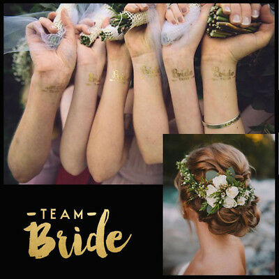 1PC Team Bride Squad Tribe Temporary Tattoos Gold Funky Hen Party Night Wedding