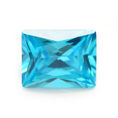Size 2x4~10x12mm Rectangle Shape Sea Blue 5A Loose Cubic Zirconia Stone