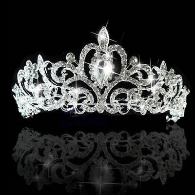 Luxury Bridal Princess Rhinestone Crystal Hair Tiara Wedding Crown Headband #d