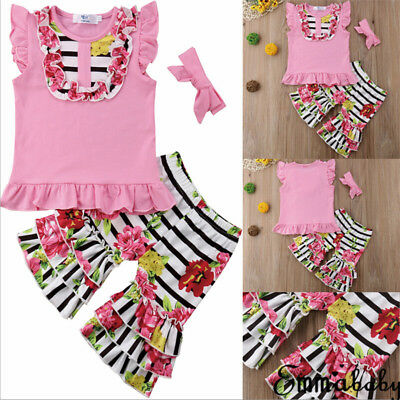 a39505016514 EMMABABY BABY GIRLS Floral Outfits Clothes T-shirt Tops Striped ...