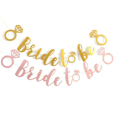 Bride To Be Ring Glitter Banner Bunting Bridal Hen Night Wedding Party Decor