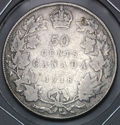 1918 Canadian Canada Fifty 50 Cent Half Dollar Silver Coin George V