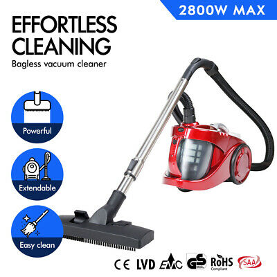 2800W Bagless Cyclone Cyclonic Vacuum Cleaner HEPA Filtration Red