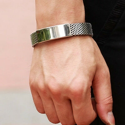 HOT Mens Silver Stainless Steel Black Leather Cuff Bangle Bracelet Wristband