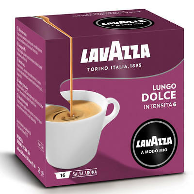 Lavazza A Modo Mio Lungo Dolce Capsules Coffee Machine Pack of 16 Pods 1 Box
