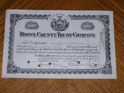 Lot of 8 Bronx County Trust Company. Issued 1930's