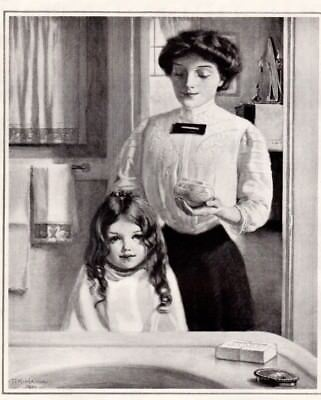 1910 1920's Antique Fashion Print ad Little Girl Hair Wash Ivory Soap Nice art