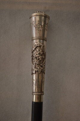 Silver WALKING STICK - Hunting  POLISH POLAND  - VERY OLD STAINT GEORGE