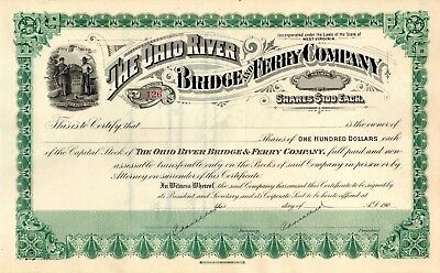 The Ohio River Bridge and Ferry Company 190? cancelled Stock Certificate