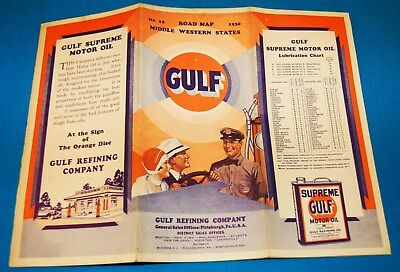 1930 GULF GASOLINE AUTOMOBILE ROAD MAP #18 for MIDDLE WESTERN STATES (SEE LIST)