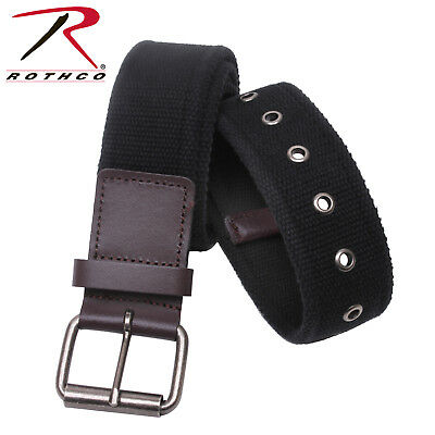 Vintage Style Single Prong Web Belt With Leather Accents Rothco 4371